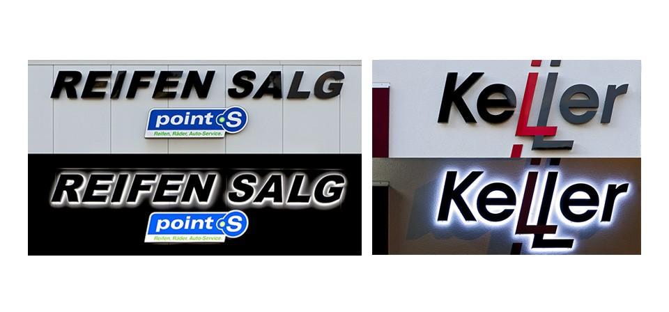 Lichtwerbeanlage – Reifen Salg / Keller